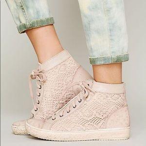 Free People Atlas Crochet Leather Hi-Top Sneaker